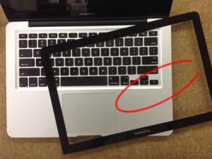 macbookpro 液晶ガラス交換